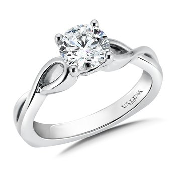 Solitaire Engagement Ring Mounting in 14K White Gold (.02 ct. tw.)