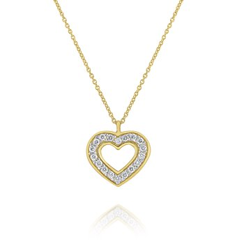 Diamond Heart Pendant Set in 14 Kt. Gold