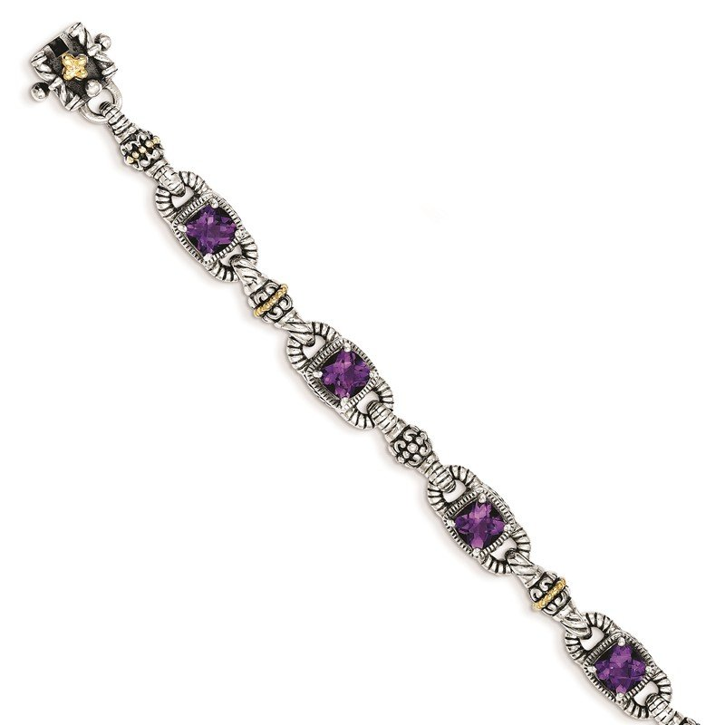 Quality Gold Sterling Silver w/14k Amethyst Antiqued Bracelet