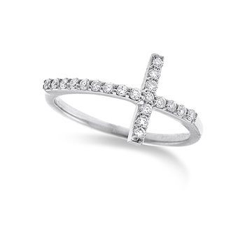 Diamond Large Side Cross Ring in 14k White Gold with 20 Diamonds weighing .23ct tw.