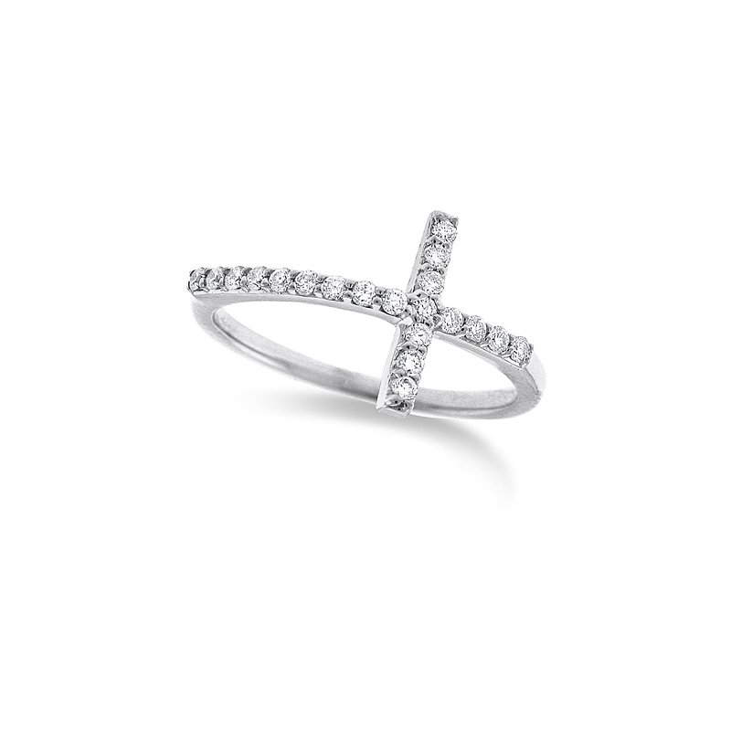 KC Designs Diamond Large Side Cross Ring in 14k White Gold with 20 Diamonds weighing .23ct tw.