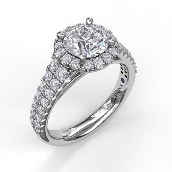Classic Double Row Pave Band With Halo Engagement Ring