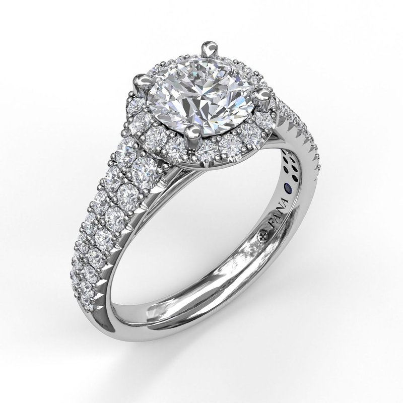 Fana Classic Double Row Pave Band With Halo Engagement Ring