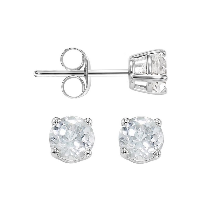 Gems One Four Prong White Topaz Studs in 14K White Gold (3 MM)