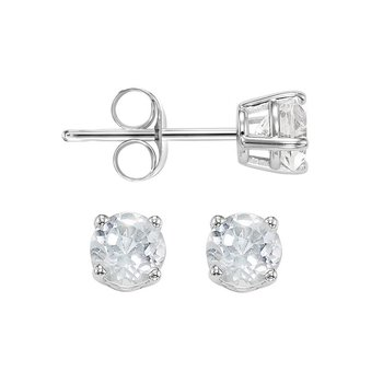 Four Prong White Topaz Studs in 14K White Gold (3 MM)
