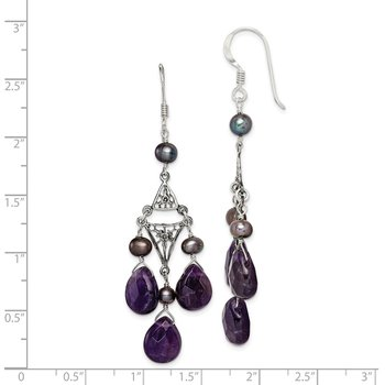 Sterling Silver Antiuqed Amethyst / Peacock FW Cultured Pearl Earrings