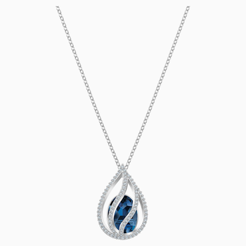Energic Pendant, Blue, Rhodium plated