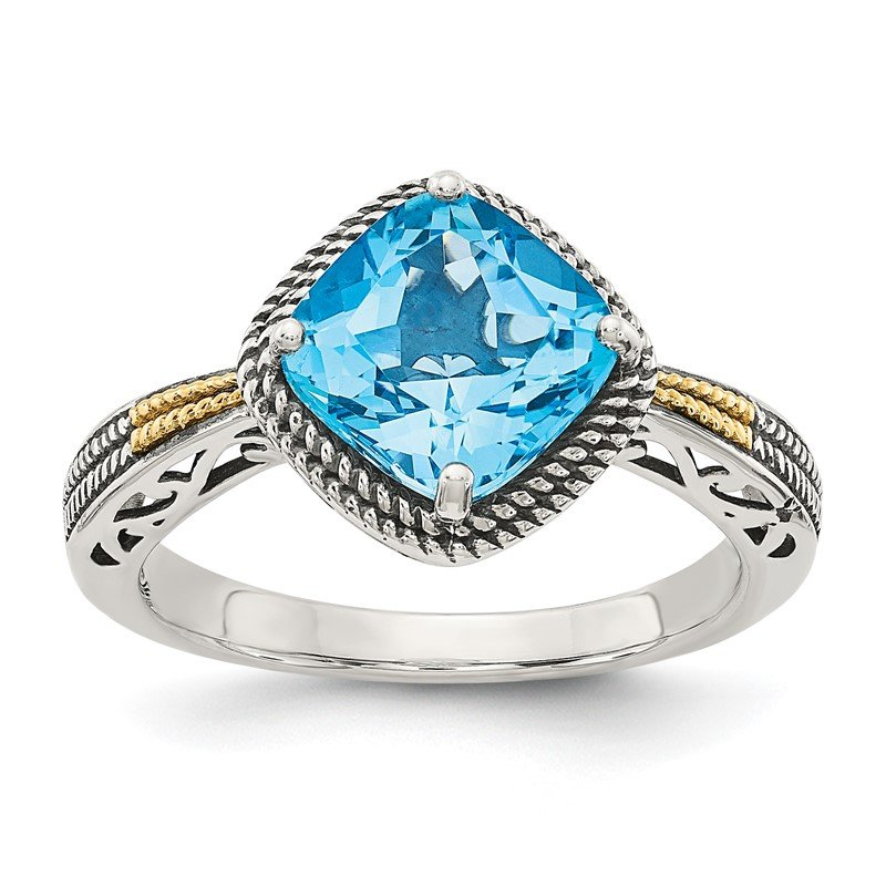 Quality Gold Sterling Silver w/14k Antiqued Blue Topaz Ring