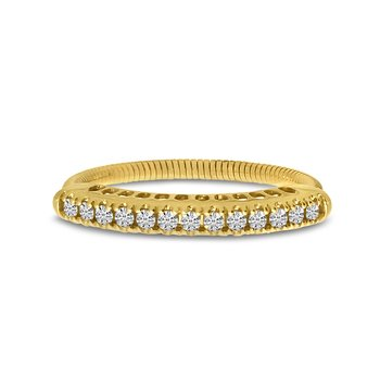 14K Yellow Gold Stretch Diamond Band Comfort Ring (.25 ct) 4-Prong Setting