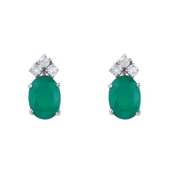 14k White Gold Emerald And Diamond Oval Earrings