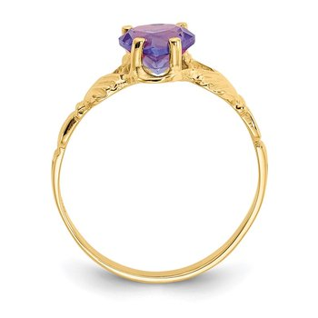 14k June CZ Birthstone Claddagh Ring