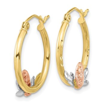 10k Tri-color Guadalupe Hoop Earrings