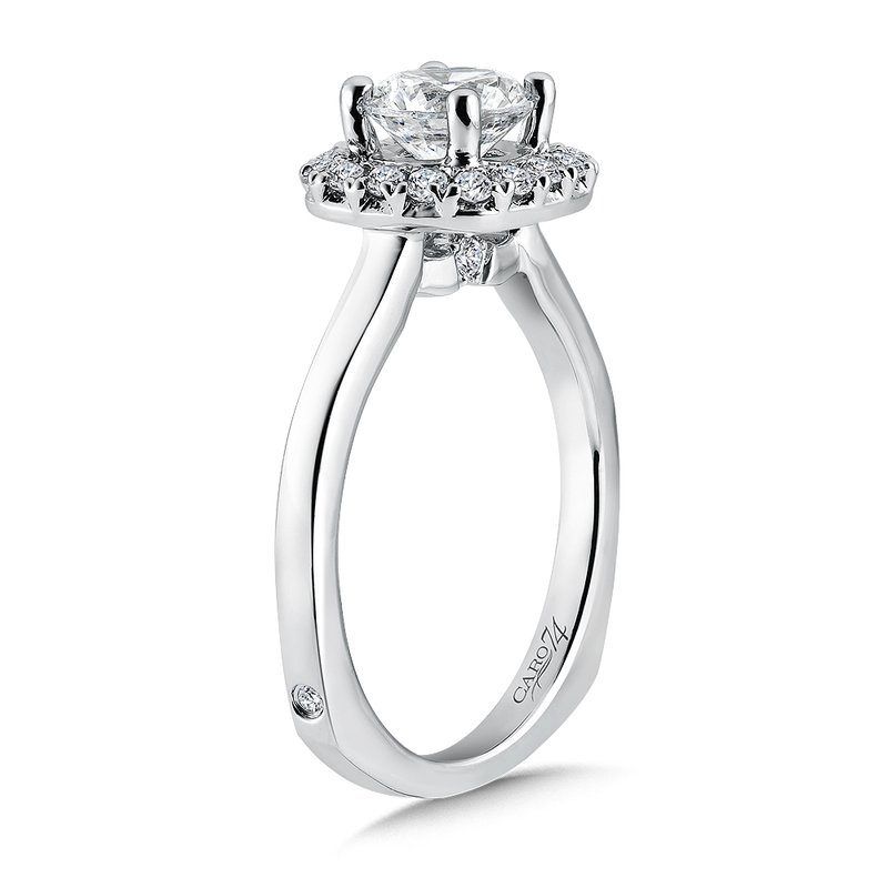 Caro74 Classic Elegance Collection Halo Engagement Ring in 14K White Gold with Platinum Head (1ct. tw.)