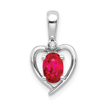 14k White Gold Ruby and Diamond Heart Pendant