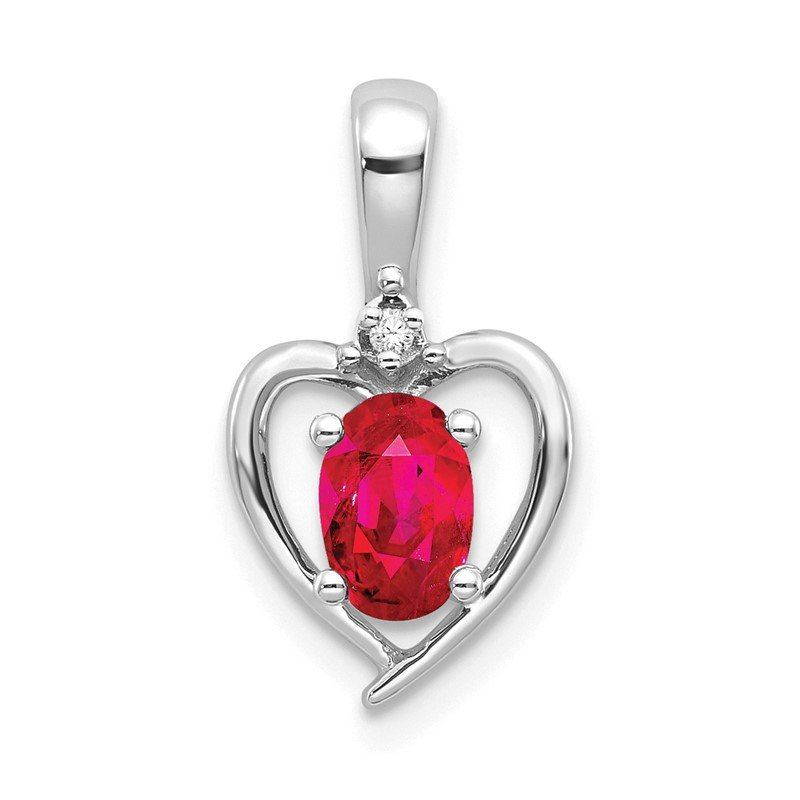 Quality Gold 14k White Gold Ruby and Diamond Heart Pendant