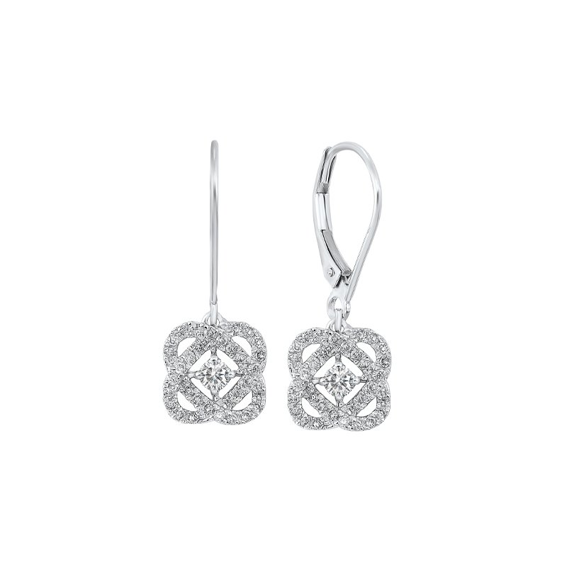 Gems One Diamond Infinity Love Heart Knot Dangle Earrings in 14k White Gold (1/4ctw)