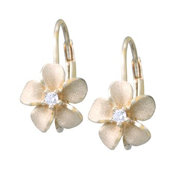 Yellow Gold Plumeria Leverback Earrings