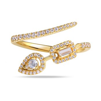 Whimsical Ring 58 round Diamonds 0.30C & 1 baguette 0.062C