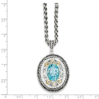 Sterling Silver w/14k Swiss Blue Topaz & Diamond Necklace