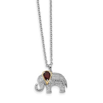 SS and 14k Accent Rhodium-plated Garnet Diamond Elephant 18inch Necklace