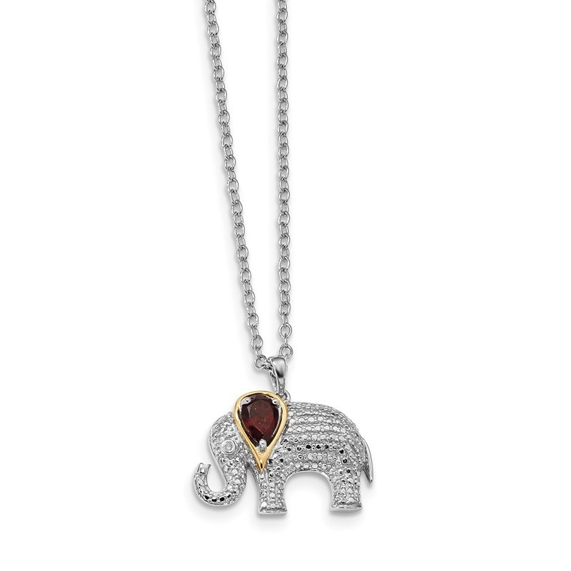 J.F. Kruse Signature Collection SS and 14k Accent Rhodium-plated Garnet Diamond Elephant 18inch Necklace