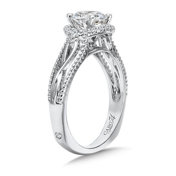 Halo Engagement Ring with Split Shank in 14K White Gold with Platinum Head (1ct. tw.)