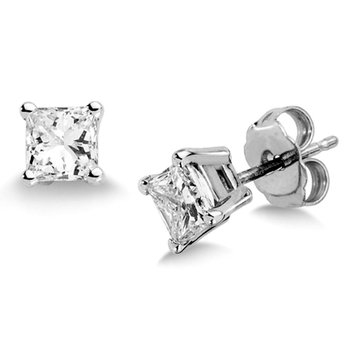 Four Prong Princess cut Diamond Studs in 14k White Gold (1/4ct. tw.)