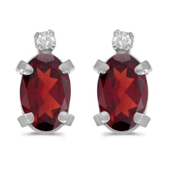 Sterling Silver Oval Garnet and Diamond Earrings