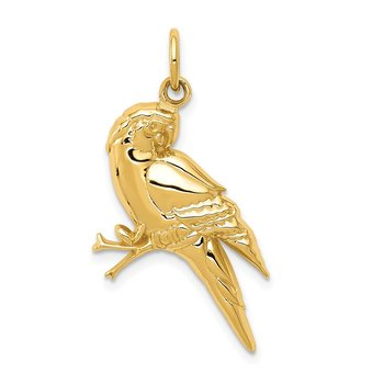 14k Yellow Gold Parrot Charm