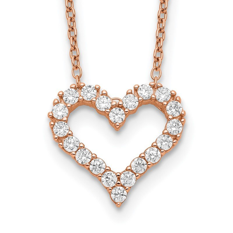 Quality Gold Sterling Silver Rose-tone CZ Heart w/ 2in ext. Necklace