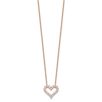 Sterling Silver Rose-tone CZ Heart w/ 2in ext. Necklace