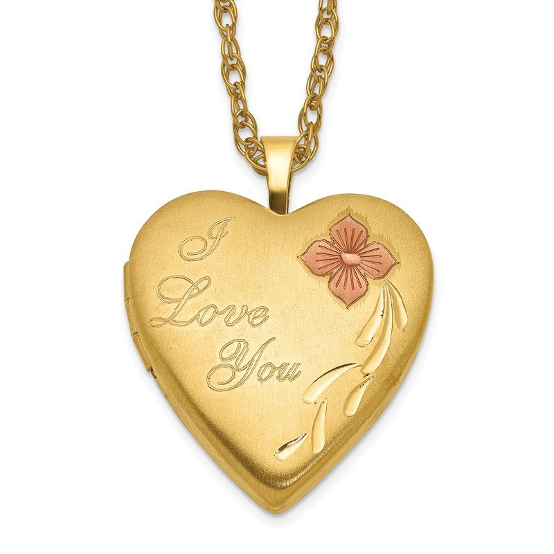 Quality Gold 1/20 Gold Filled 20mm Enameled I Love You Heart Locket Necklace