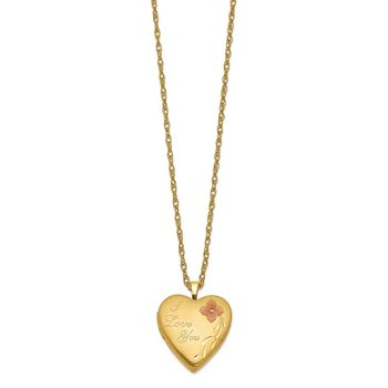 1/20 Gold Filled 20mm Enameled I Love You Heart Locket Necklace