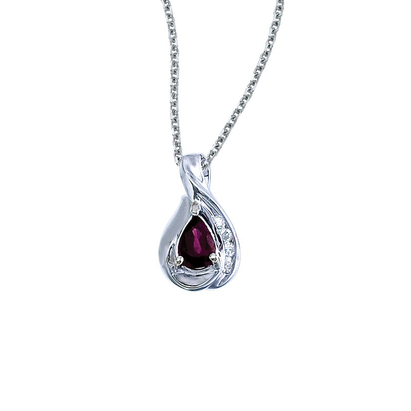 Color Merchants 14k White Gold Pear Ruby and Diamond Pendant