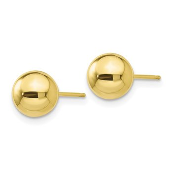 10k Polished 7mm Ball Post Earrings