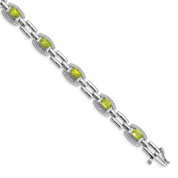 Sterling Silver Rhodium-plated Diamond & Peridot Bracelet