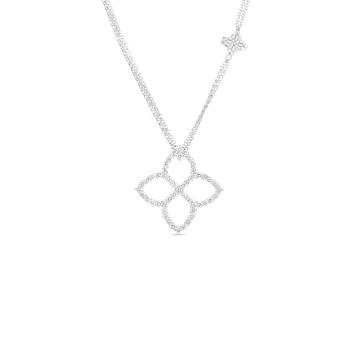 "18K PRINCESS FLOWER 30MM DIAMOND OUTLINE PENDANT ON 33"" CHAIN"