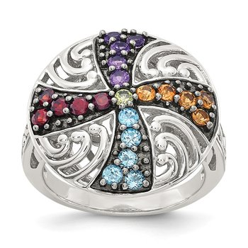 Sterling Silver w/ Black Rhodium Multi Gemstone Ring