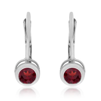 14k White Gold 4mm Garnet Bezel Leverback Earrings