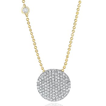 Yellow gold diamond Infinity necklace with a bezel-set diamond