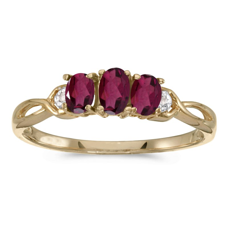 Color Merchants 10k Yellow Gold Oval Rhodolite Garnet And Diamond Three Stone Ring