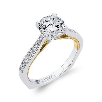 18K Two-Tone Gold Round Cut Diamond Engagement Ring (Semi-Mount)