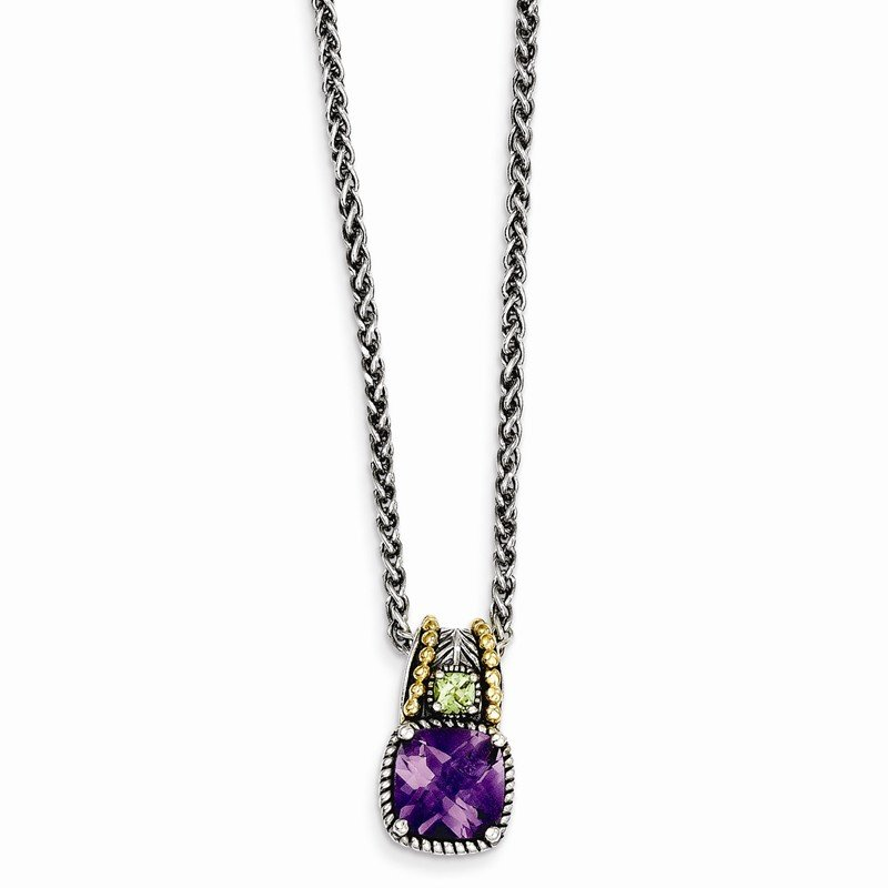 Shey Couture Sterling Silver w/14k Amethyst & Peridot Necklace