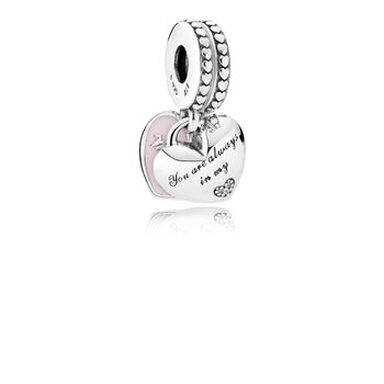 Mother Daughter Hearts, Soft Pink Enamel Clear Cz