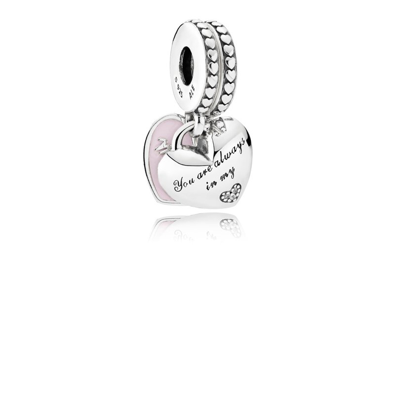 PANDORA Mother Daughter Hearts, Soft Pink Enamel Clear Cz