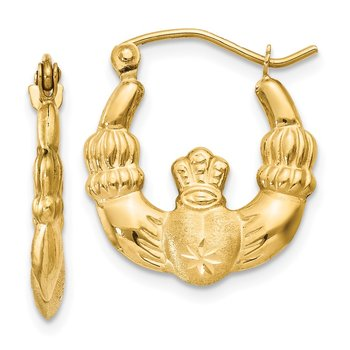 14k Polished & Satin Claddagh Hoop Earrings