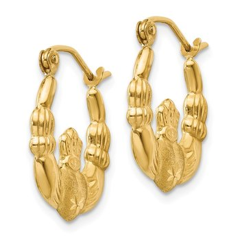 14k Polished and Satin Claddagh Hoop Earrings