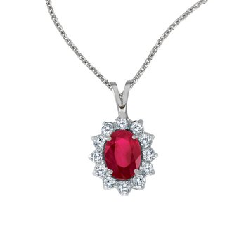 14k White Gold Oval Ruby Pendant with Diamonds