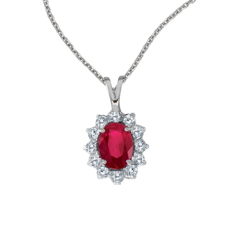 Color Merchants 14k White Gold Oval Ruby Pendant with Diamonds