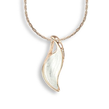 White Wave Necklace.Rose Gold Plated Sterling Silver-White Sapphire